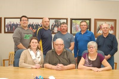 Members of the newly-elected Sturgis council held their first meeting on November 17. Members, from left, are: (back row) Conrad Peterson, Daniel Wasylenchuk, Perry Keller, Bert Suknasky and Dale Bashforth, and (front) Jennifer Bayer, Alan Holmberg and Olivia Bartch, administrator.