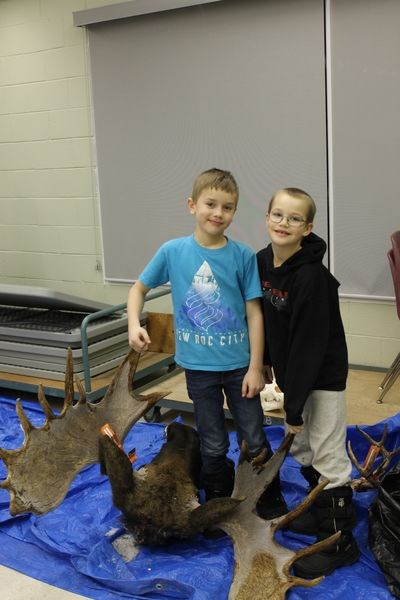 Devon Paley and Gaspar Thomas admired a pair of moose antlers.