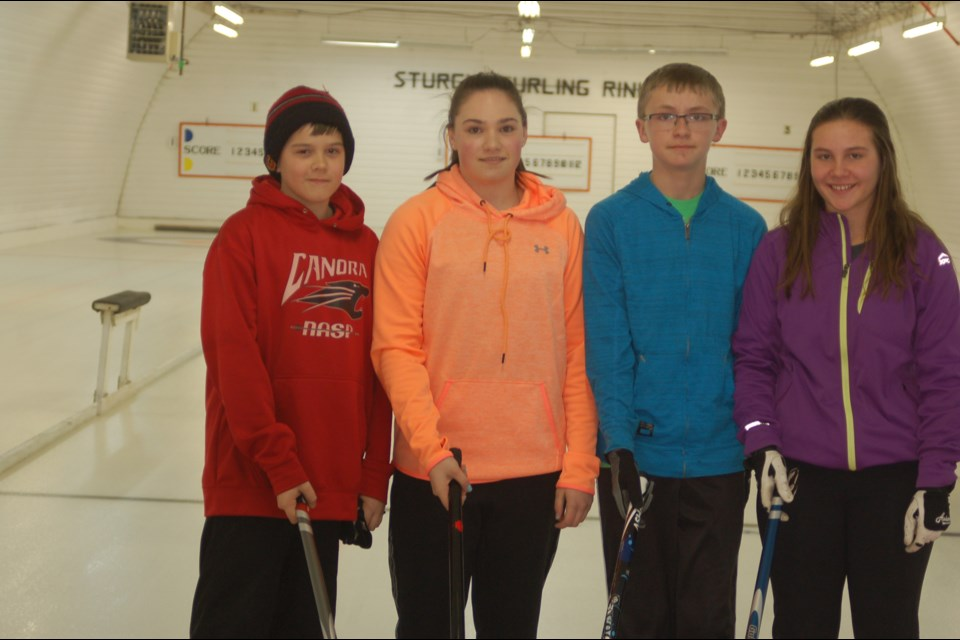 Members of the Canora junior mixed curling team, from left, are: Lane Zuravloff (skip), Cassidy Zuravloff (third), Brody Harrison (second) and Kailey Sleeva (lead).