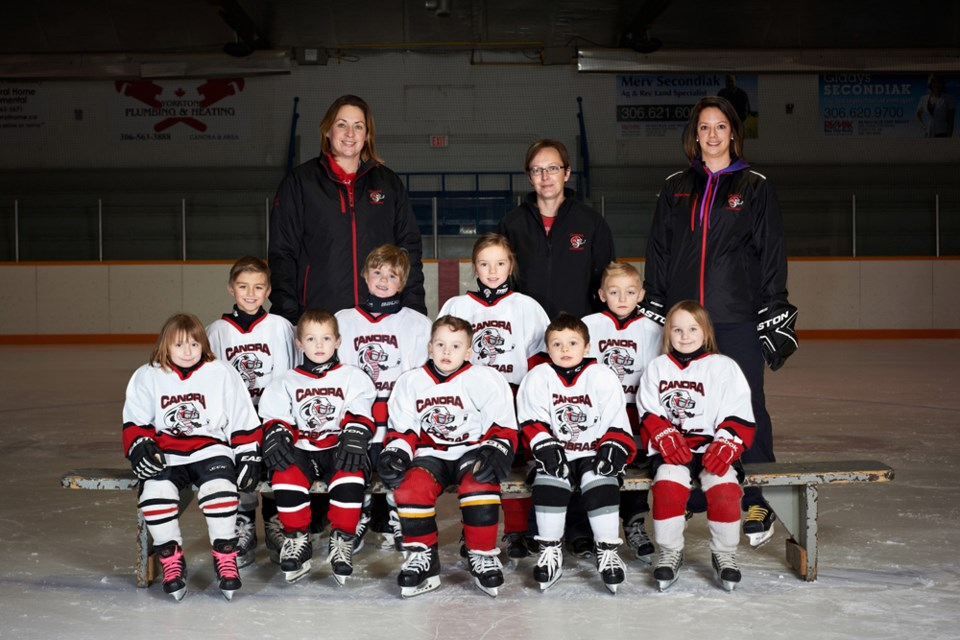 Members of the Canora White Squirts hockey team, from left, are: (back row) Meridee Kopelchuk (coach), Kim Wolkowski (manager) and Aimee Ruf (helper); (middle row) Knox Oswald, Colby Fast, Claire Ruf and Kruze Oswald, and (front) Priah Wolkowski, Wade Vangen, PJ Kruger, Maddox Sawka and Kenzee Kopelchuk. PHOTOS COURTESY OF CANORA PHOTO AND FRAMING
