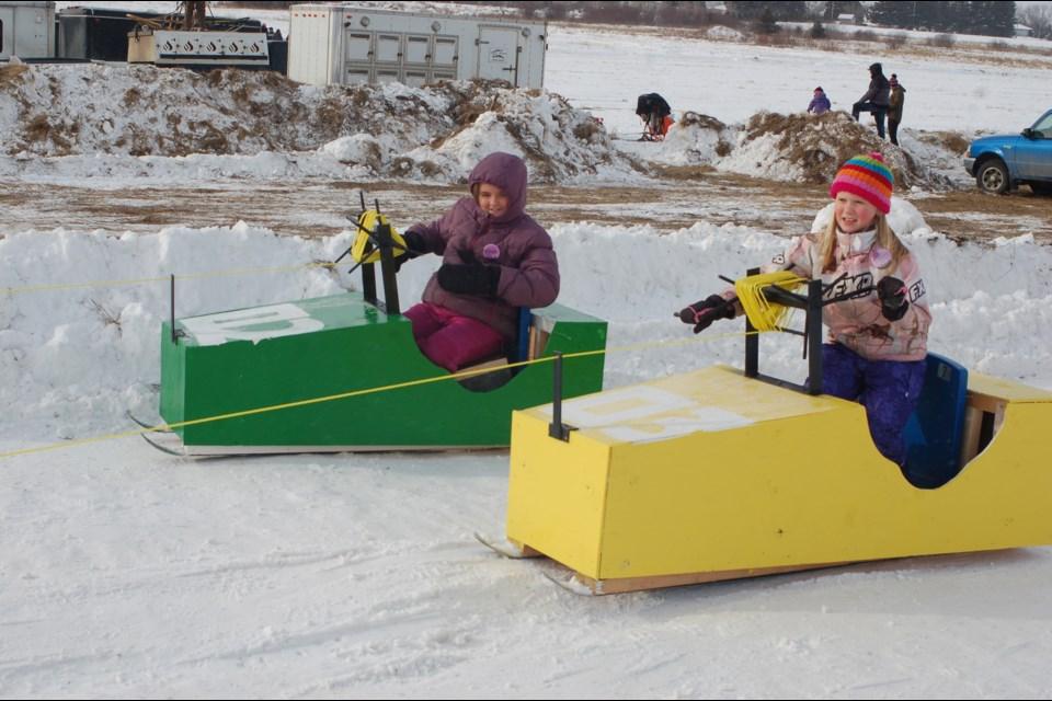 Sara Masko, left,and Graison Belesky enjoyed  the go carts.