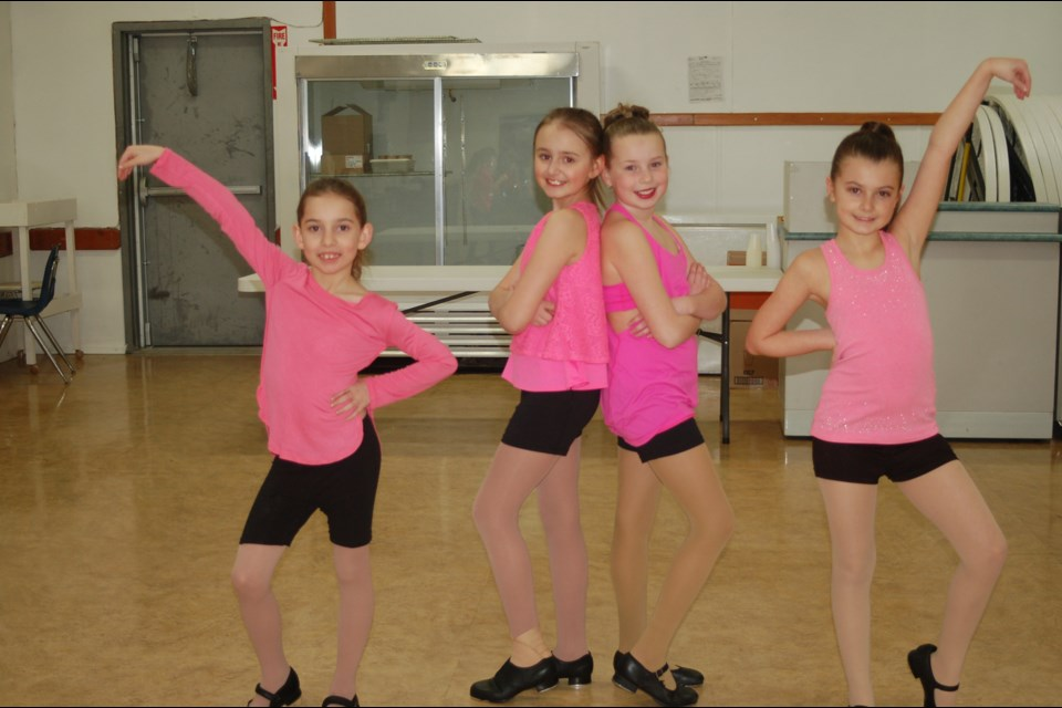 Dancers who performed a tap dance, from left, were: Maggie Bartel, Emerson Strykowski, Addison Danielson and Alexis Firman.