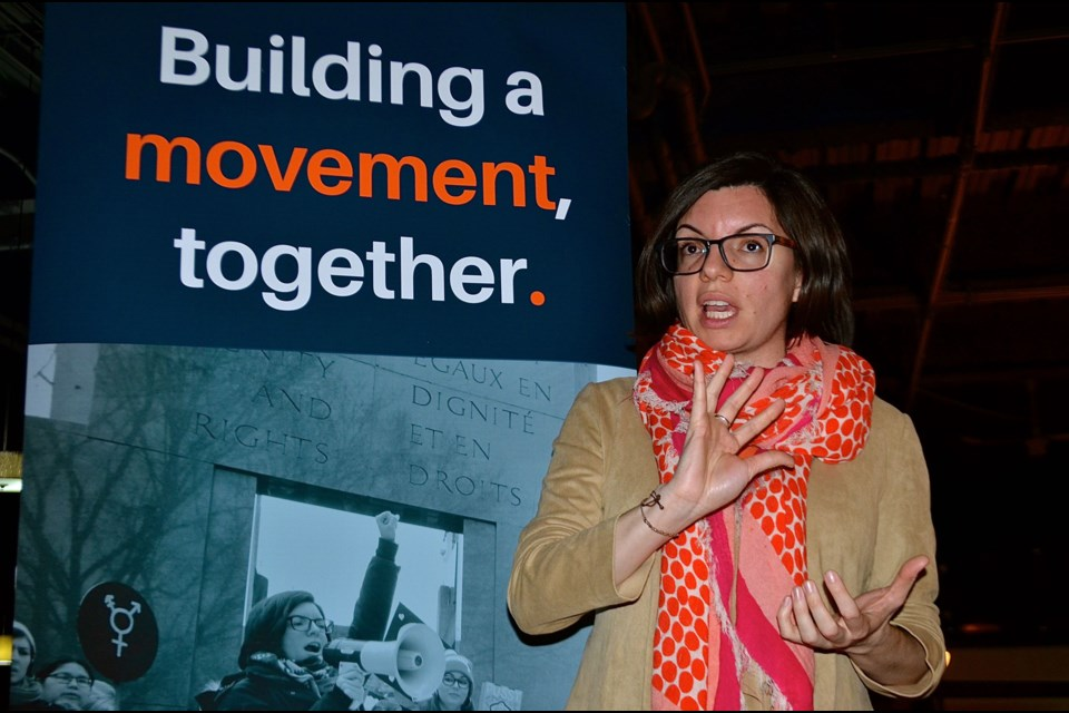 Niki Ashton talks to supporters during a whistlestop at the Red Papaya Sunday. Troy Bridgeman for GuelphToday.com