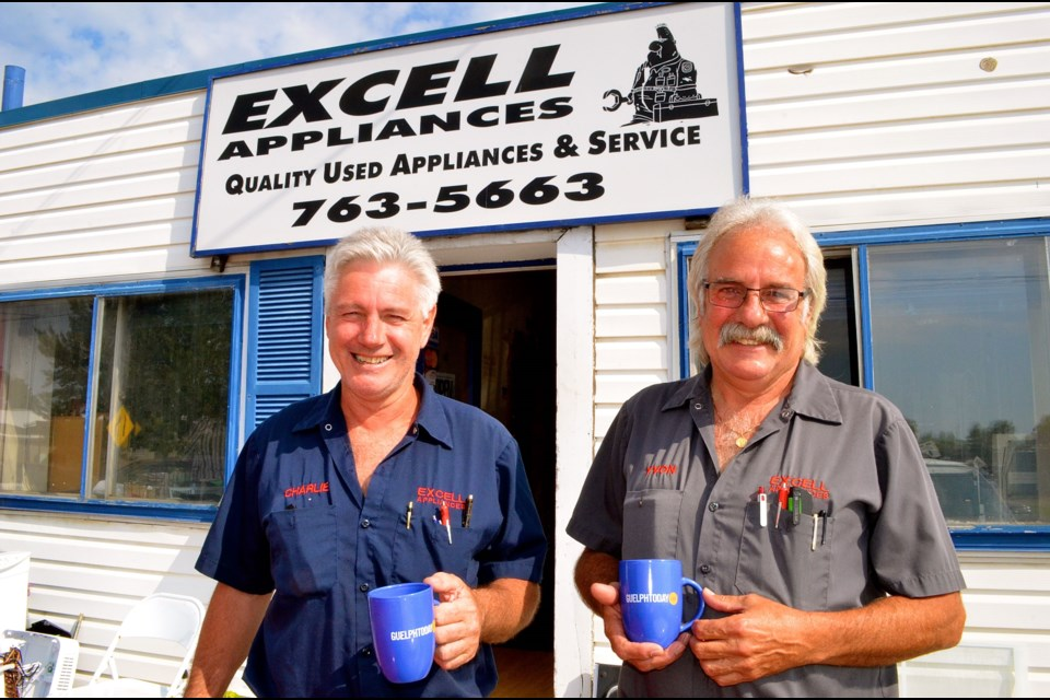 Charlie Burton and Yvon Lauzon owners of Excell Appliances continue to repair appliances for a throw-away society.