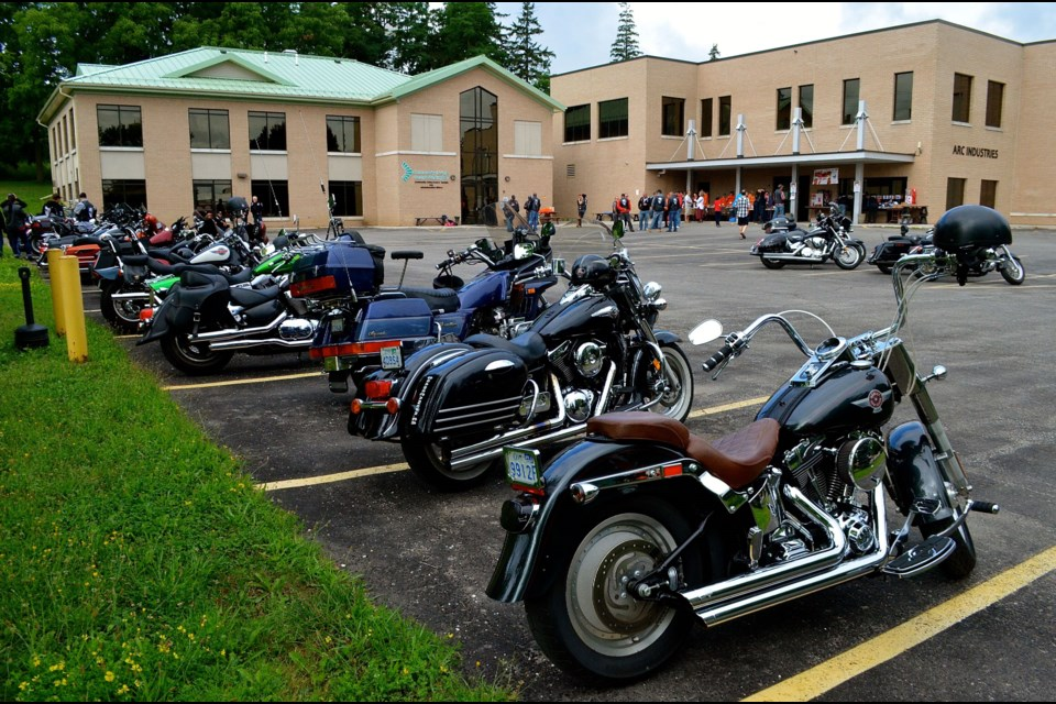 Motorcycles slowly fill the parking lot at Community Living as riders prepare for the 2nd Annual Ride for JOE Troy Bridgeman for GuelphToday