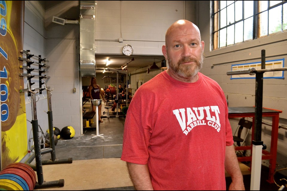 Powerlifting champion, referee and trainer Mark Giffin is building muscle and community at the Vault Barbell Club.  Troy Bridgeman for GuelphToday.com