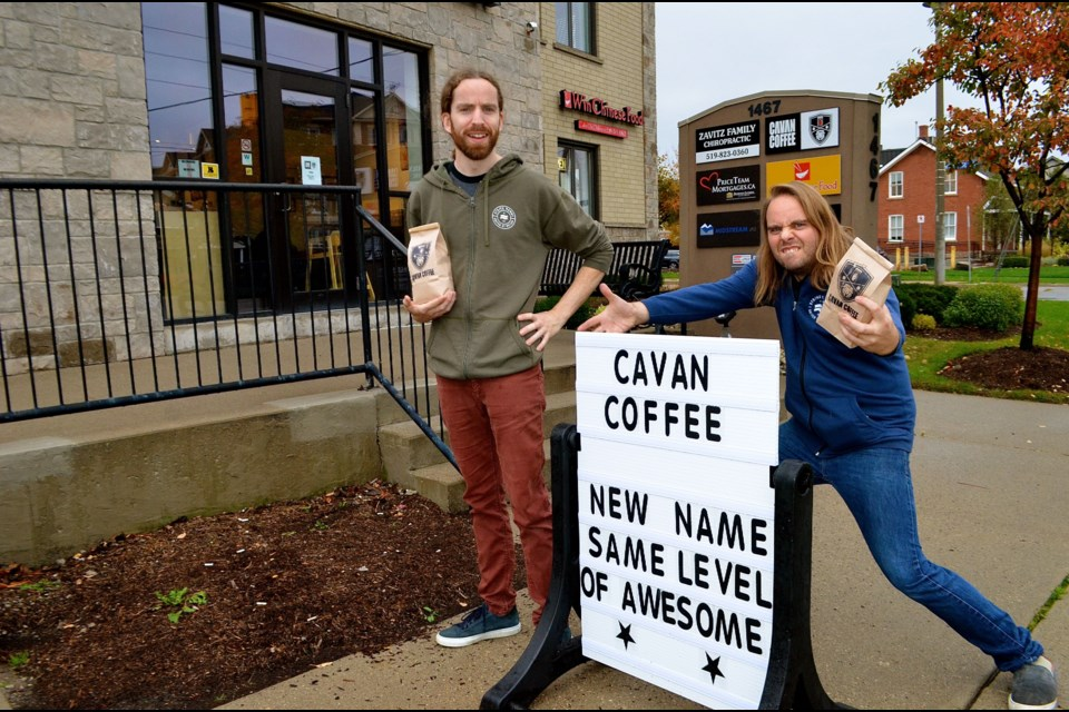 Coffee brewing brothers Rufus and Jeremy Cavan outside their shop on Gordon Street.  Troy Bridgeman for GuelphToday.com