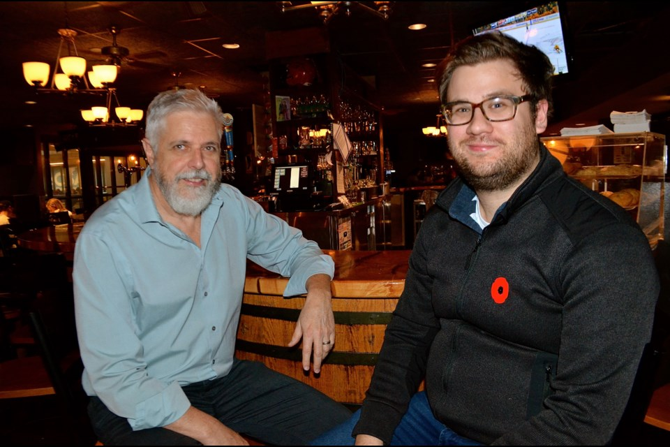 GMOs founding member Owen Roberts and newest member Joey Sabljic are ready to rock at their 20th anniversary party at the Brass Taps Nov 16.  Troy Bridgeman for GuelphToday.com
