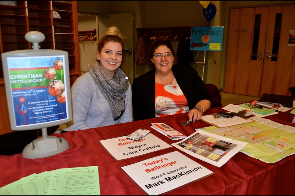Megan Borduas and Missy Tolton register volunteers for the 2019 Salvation Army Kettle Campaign. Troy Bridgeman for GuelphToday.com