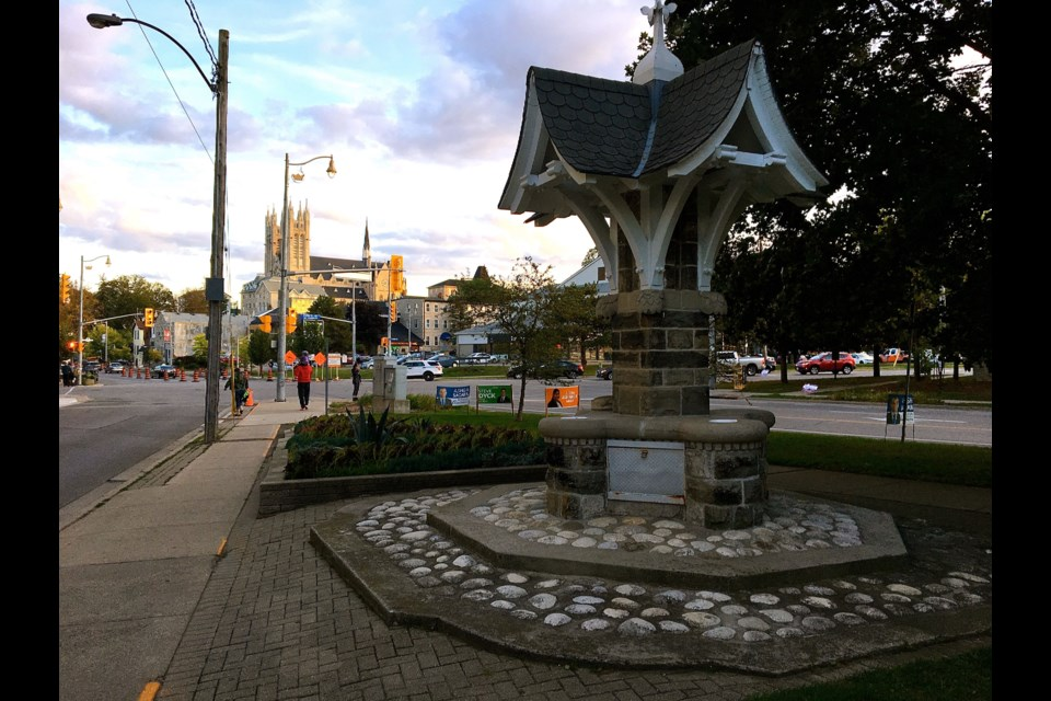The Imperial Order of the Daughters of the Empire Fountain was moved from Trafalgar Square to its present location between Yarmouth and Norfolk Streets in 1926. Troy Bridgeman for GuelphToday.com