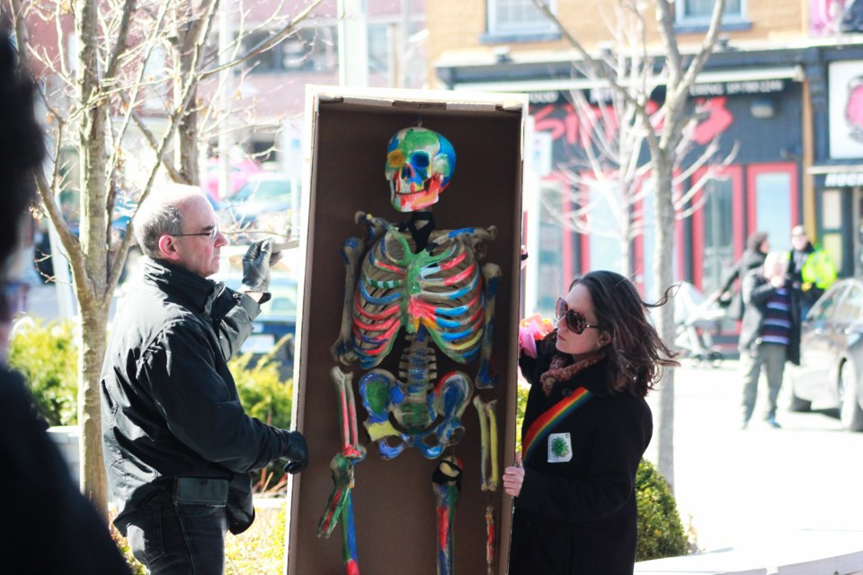 """A skeleton in a """"coffin"""" represents the death of humanity. Anam Khan/GuelphToday"""