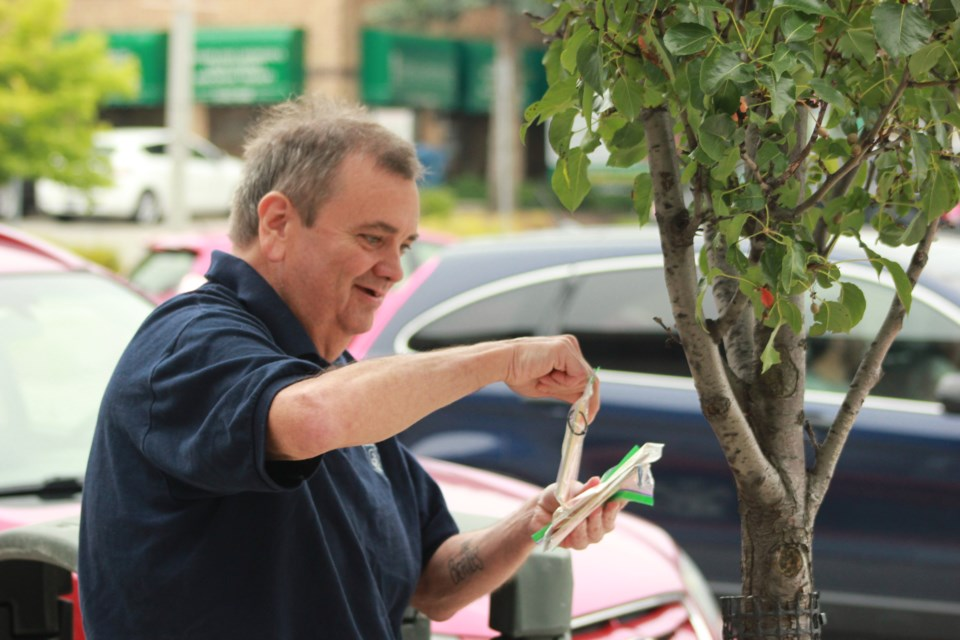 Creator Paul Mahony hides a self care booklet in a tree. Anam Khan/GuelphToday