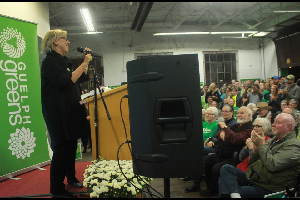 Elizabeth May on stage at the Guelph Rally. Anam Khan/GuelphToday