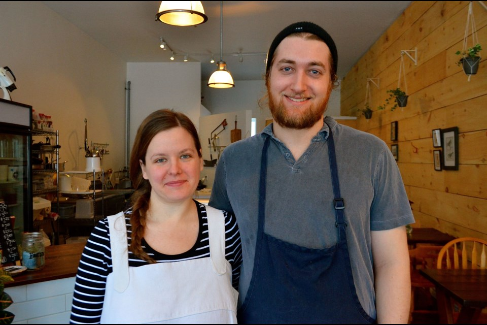 Brittany Livingstone and Cael Harlow owners of Fred's Food Company on Wyndham Street.  Troy Bridgeman GuelphToday.com
