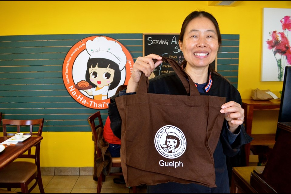 Narvemon Verspagen is offering greener take-out options such as reusable bags at Na Ha Thai's Kitchen. Troy Bridgeman GuelphToday.com