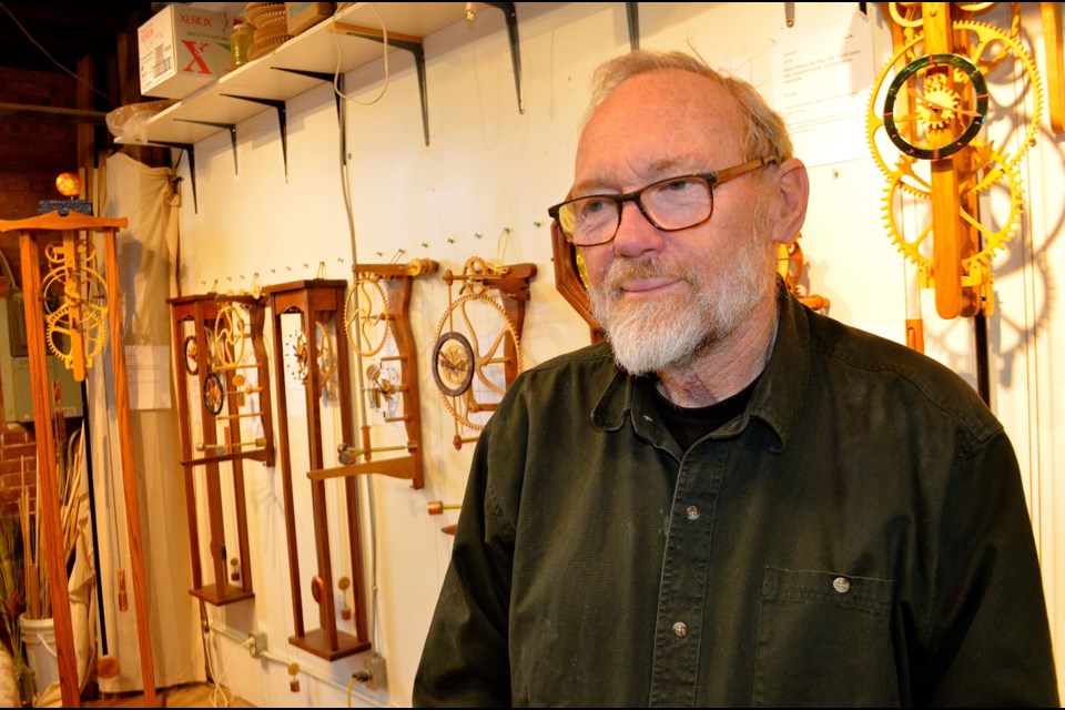 Clockwork sculptor Brendan Reilly in his shop on York Road. Troy Bridgeman/GuelphToday