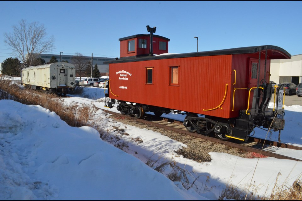 The nearly restored 1920 CPR wooden caboose and 1950's CNR express baggage car the GHRA is restoring. Troy Bridgeman/Guelphtoday
