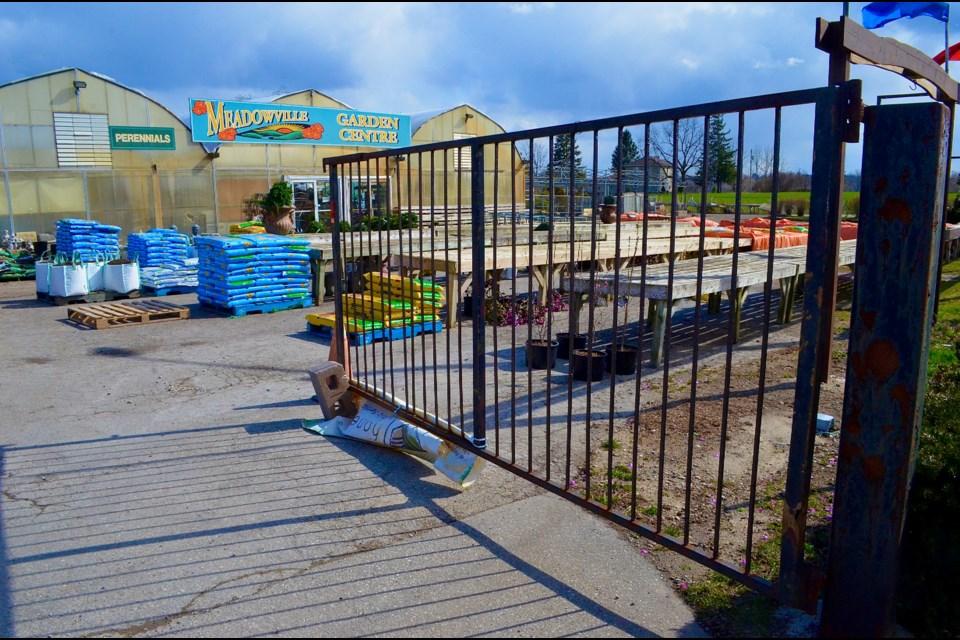 The gate remains open during regular business hours at Meadowville Garden Centre. Troy Bridgeman/GuelphToday