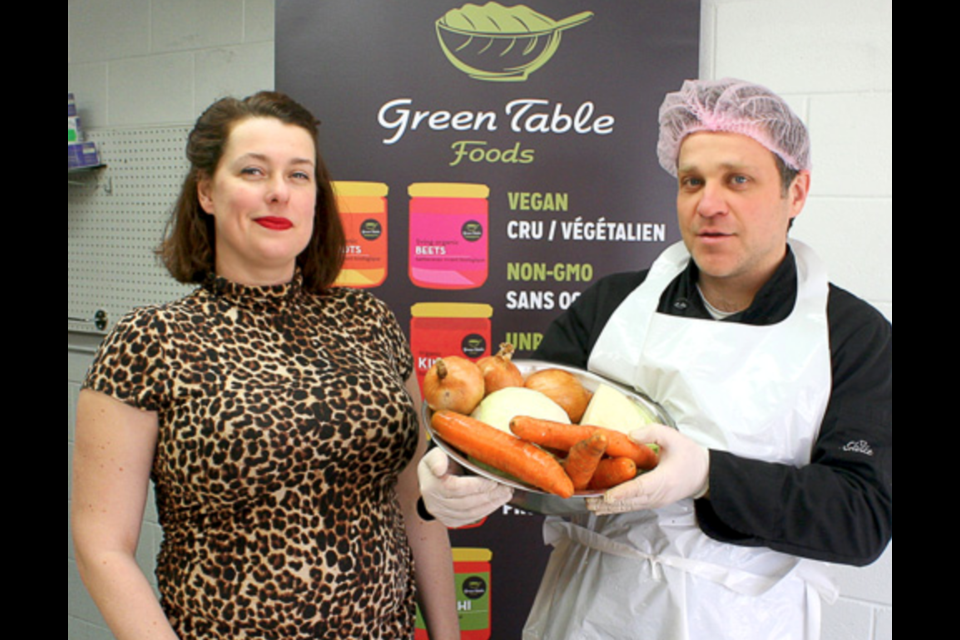 Co-founders of Green Table Foods, Joshua Whitehead and Caroline Pilon at Innovation Guelph. Supplied photo