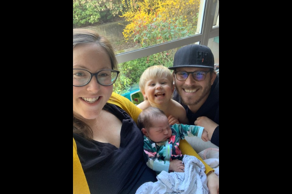 Laura Van Doormaal, Scott Van Doormaal with their two-year-old son Sullivan and their baby Lucy. Supplied photo