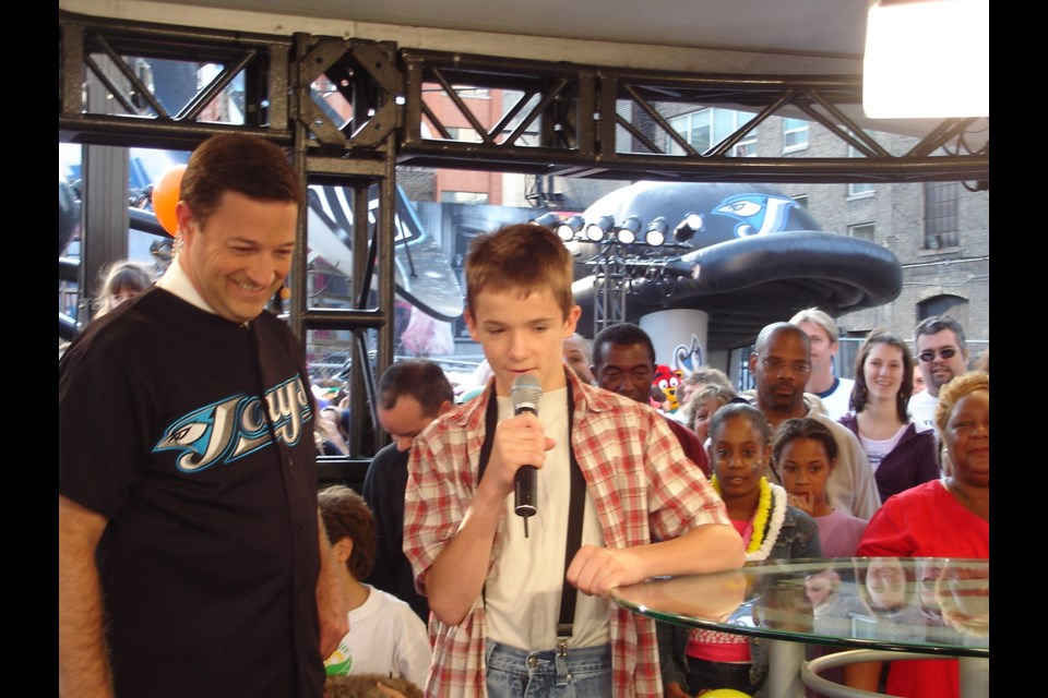 13-year-old Dana Roberts on City TV's Breakfast Television show with Kevin Frankish in 2005. Supplied photo