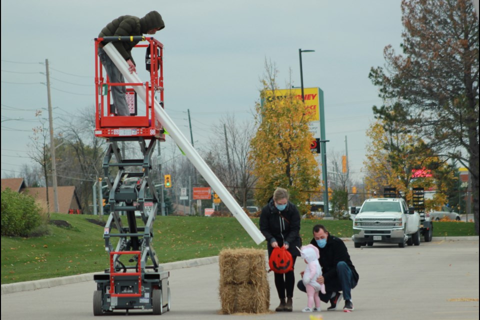 Linamar Corporation's Skyjack division used their access equipment machines to create a 10 stop route to collect candy. Anam Khan/GuelphToday