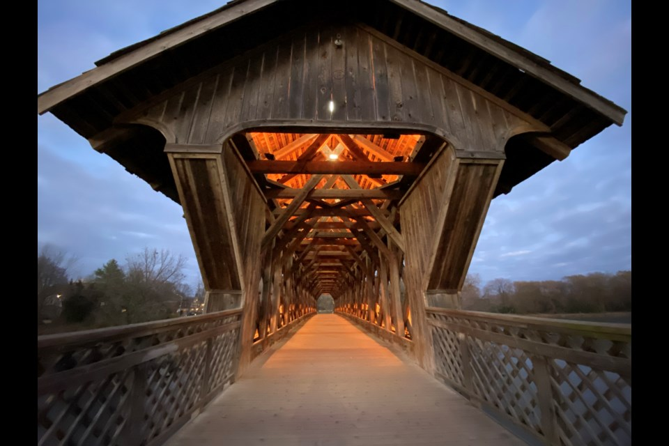 The Covered Bridge was lit in Halloween Colours on Oct. 31. 2020. Anam Khan/GuelphToday