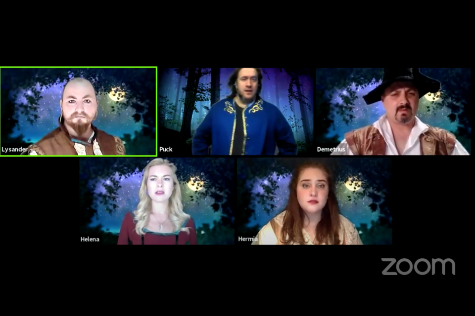Cast of A Midsummer Night's Dream from the Elora Community Theatre performs in the woods by simply changing their background on Zoom.