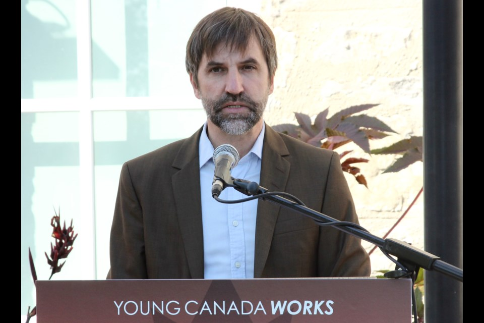 Minister of Canadian Heritage Steven Guilbeault announces a funding for the Guelph Museums on Wednesday in front of the Guelph Civic Museum. Anam Khan/GuelphToday