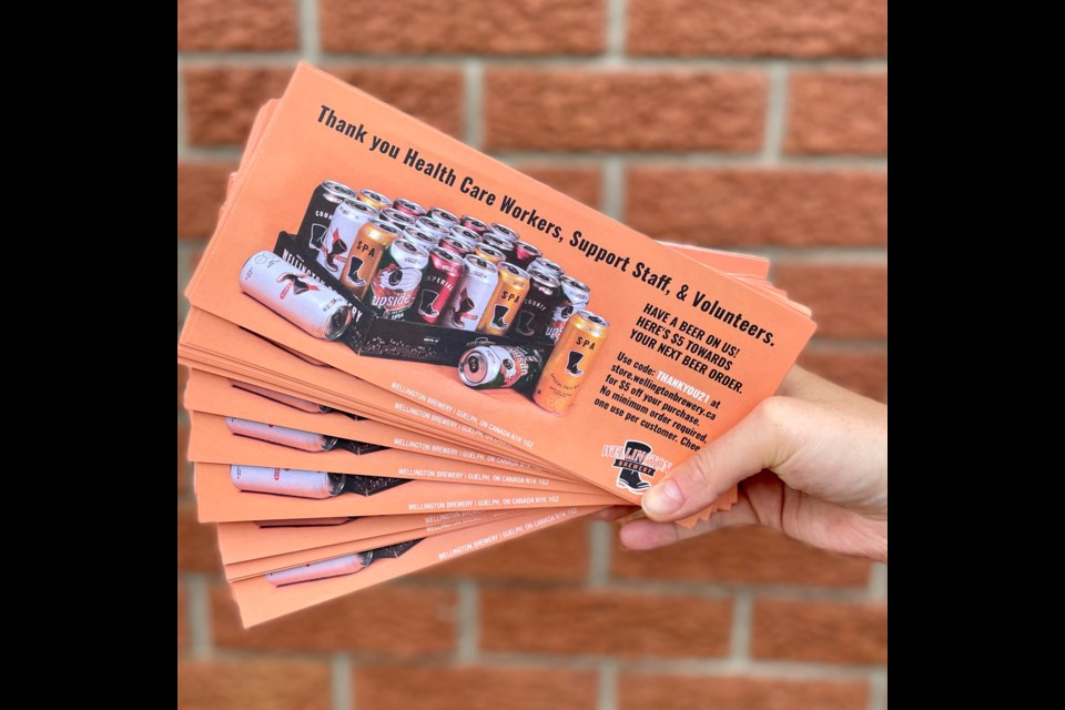 Wellington Brewery $5 coupons for health care workers and support staff at vaccination clinics. Supplied photo