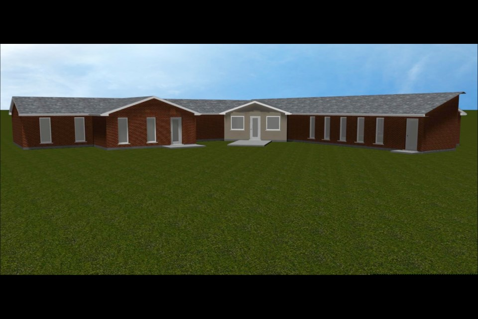 A rendering of the Harriston Lions Community Medical Centre with the planned expansion shown on the left.