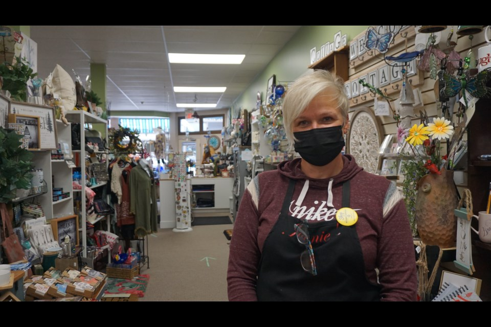 Sales at Joanie's Crafts, Gifts and Stained Glass Supplies in Fergus were up 25 to 30 per cent in July and August, says owner Kim Jefferson.