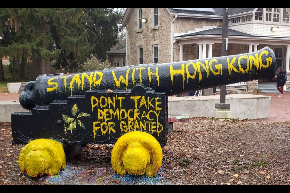 "The cannon painted with slogan ""Stand with Hong Kong."" Submitted photo."