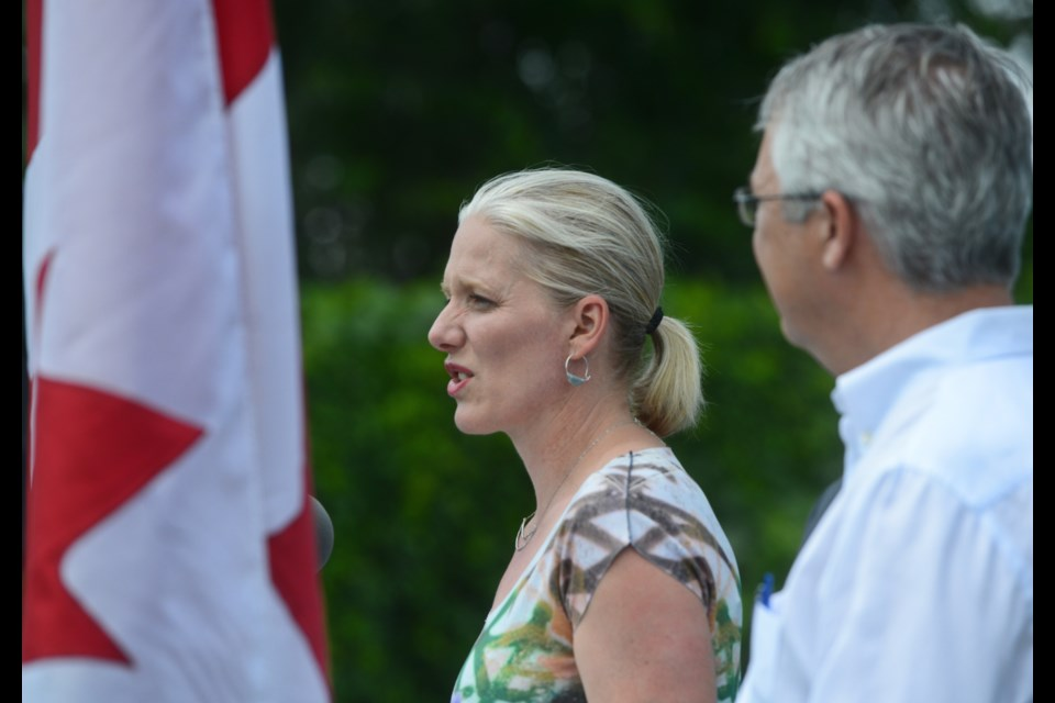 Federal Environment Minister Catherine McKenna makes an $8 million funding announcement at Canadian Solar in Guelph on Thursday. Tony Saxon/GuelphToday