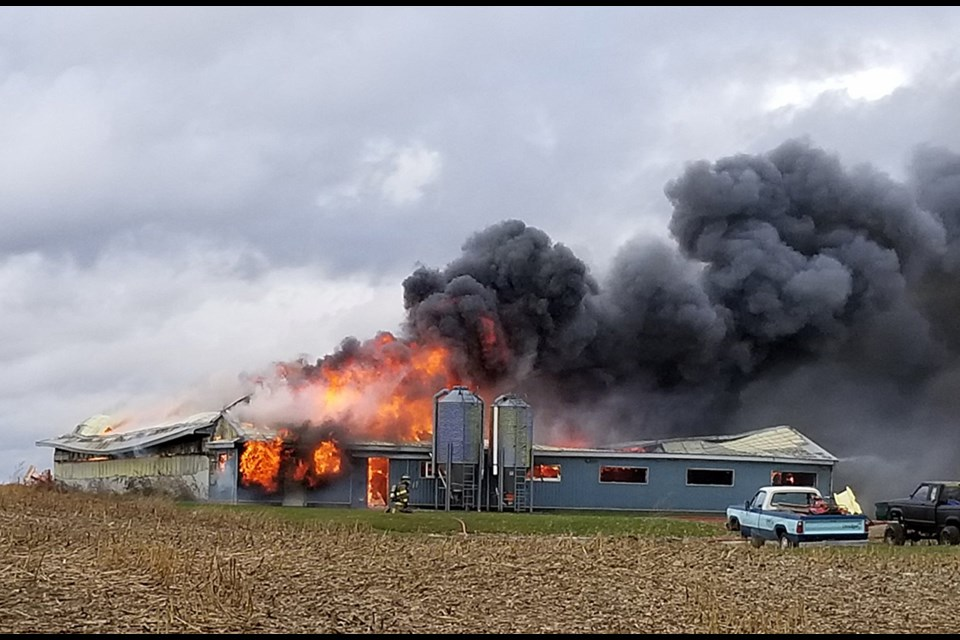 A barn fire south of Mount Forest today killed close to 300 animals according to reports. Twitter photo