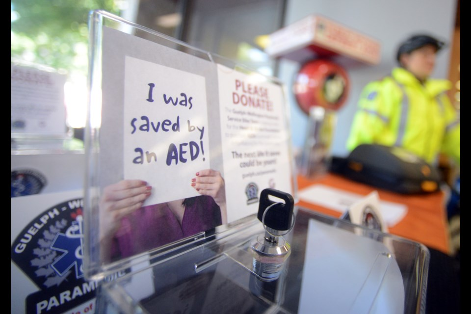 Guelph-Wellington Paramedic Services and the Guelph Public Library are teaming up to raise funds that will be used to buy more portable defibrilators to be placed in Guelph public buildings, including GPL branches. Tony Saxon/GuelphToday
