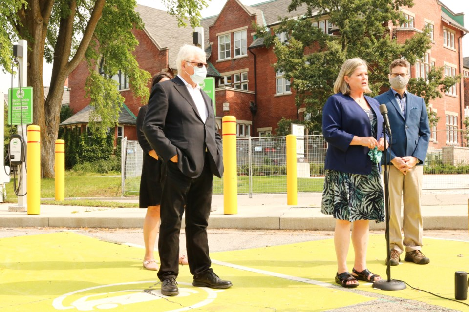 Ontario NDP party leader Andrea Horwath, left, joined by NDP MP Peter Tabuns, right, NDP MP Sandy Shaw, back right, and Guelph resident Jamey Rosen, back left. Ariel Deutschmann/GuelphToday