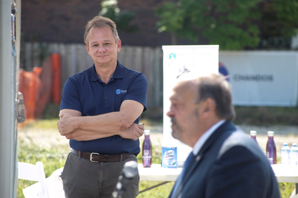 Vesterra president Robert Eilers listens as Michael Tibollo, Ontario's associate minister of Mental Health and Addictions, speaks during the groundbreaking of CMHA WW's Centre for Children's Mental Health and Development Services in Guelph's north end. Kenneth Armstrong/GuelphToday