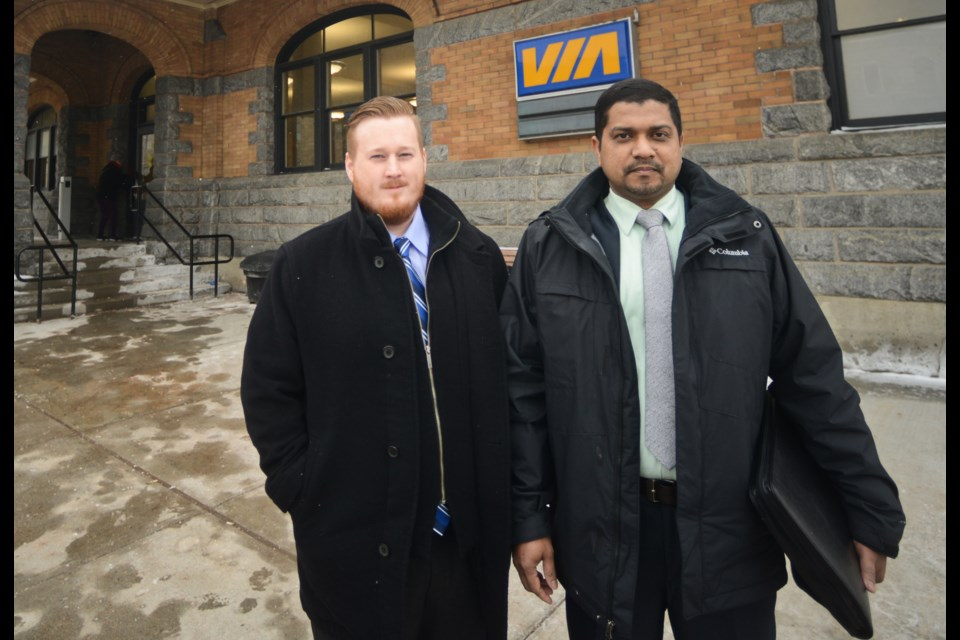 Matthew Hunter and Biju Scaria are both former GardaWorld security guards who had concerns about worker safety at the Guelph VIA Rail station. Tony Saxon/GuelphToday