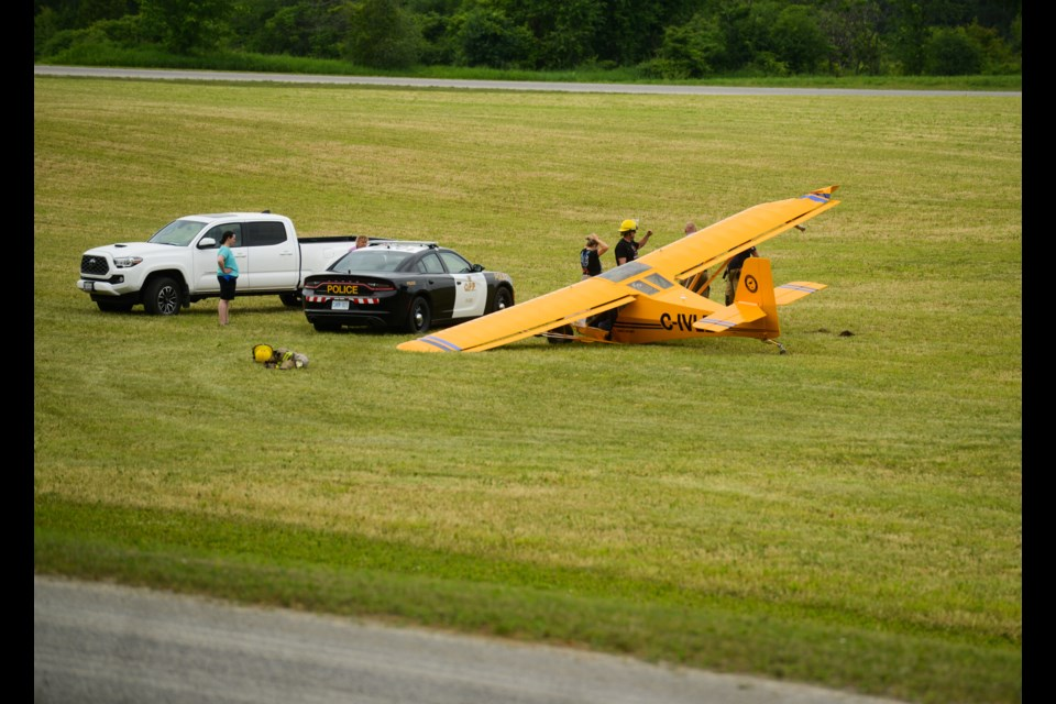 A small plane crash landed on the infield of a harness training oval in Puslinch Township Monday morning. Tony Saxon/GuelphToday