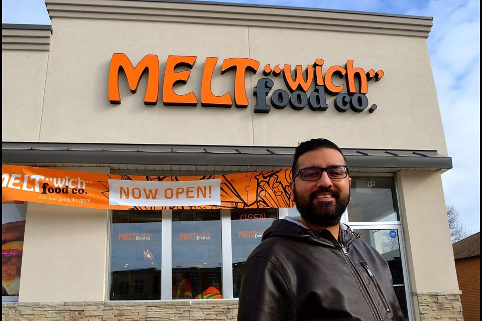 Arvind Birk outside his new MELTwich location in the plaza at Wellington/Gordon streets. Troy Bridgeman for GuelphToday