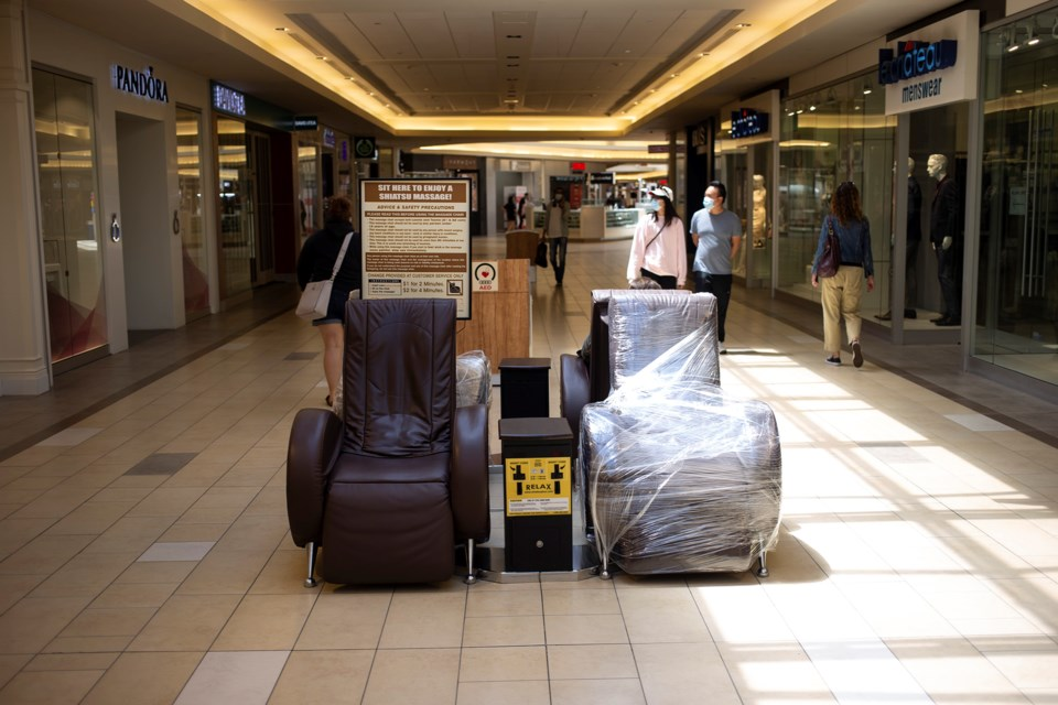 Some seating in the Stone Road Mall is closed off to promote physical distancing. Kenneth Armstrong/GuelphToday