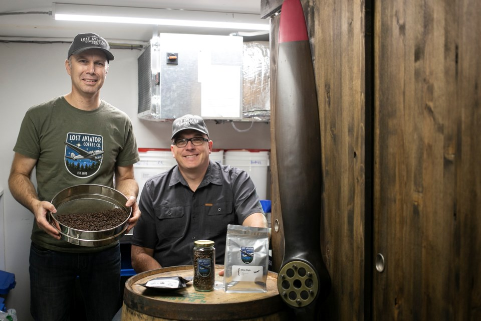 Adam Wright and Steve Zago are commercial pilots who started a new coffee roasting business in Guelph after they were furloughed in March due to the pandemic. The company has already made shipments to the U.S. and Europe, in part because of the support of others in the aviation industry. Kenneth Armstrong/GuelphToday