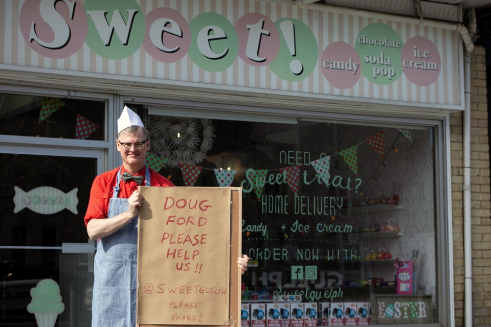 Bryan Munn and his wife Kara own Sweet! Candy and Royal Cat Records in Downtown Guelph. The couple recently applied for a COVID relief grant but were denied for reasons that have not been made clear. Kenneth Armstrong/GuelphToday