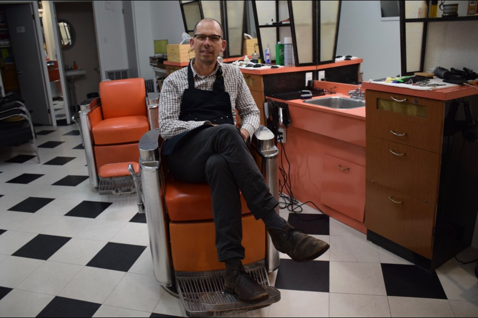 Matthew Forbes has set up his barbershop in the former home of Trank Monico's longstanding shop on Macdonell Street downtown. Rob O'Flanagan/GuelphToday
