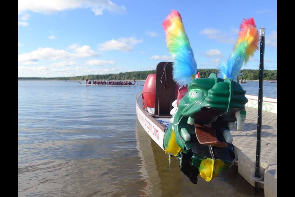 The dragon boats took over Guelph Lake Saturday, Aug. 6, 2016, for some friendly fun, competition and charity fundraising. Tony Saxon/GuelphToday