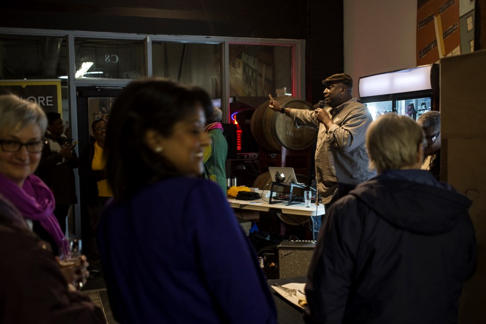 John Leacock of the Guelph Black Heritage Society speaks during Wednesday evening's 2018 launch of its Lantern Ale, made in partnership with Royal City Brewing. Kenneth Armstrong/GuelphToday