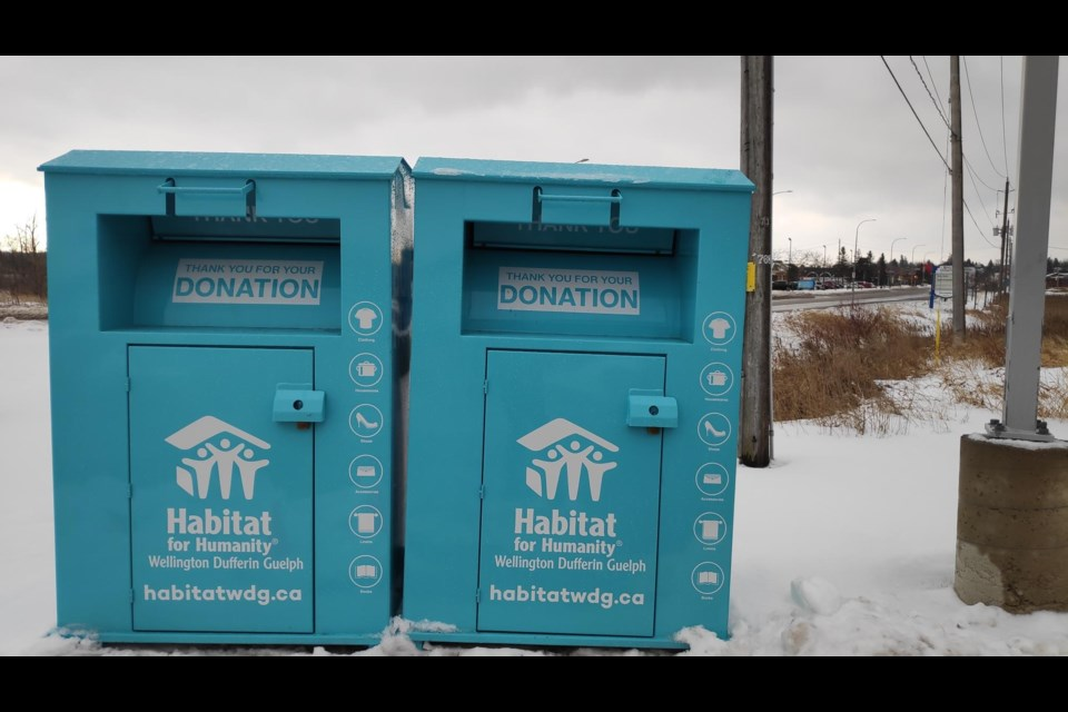 Provided photo shows Habitat bins in Orangeville
