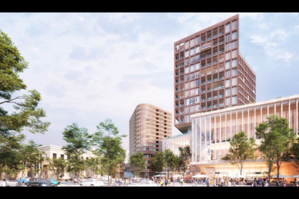 Initial artists rendering of what the Baker District redevelopment in Downtown Guelph could look like.