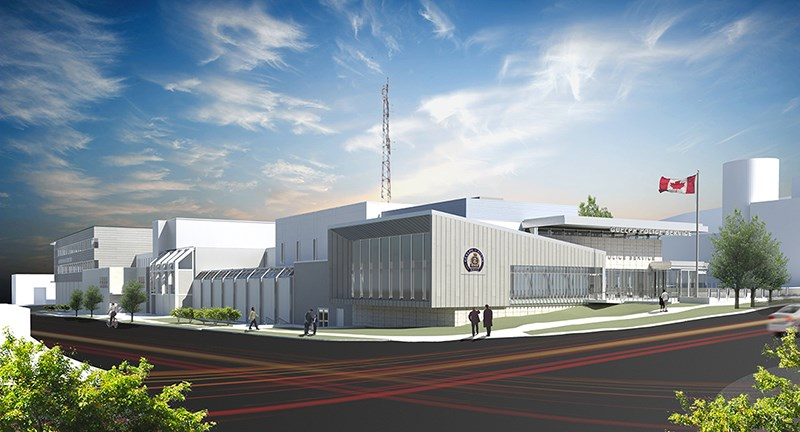 A rendition shows what the renovated police headquarters will eventually look like.